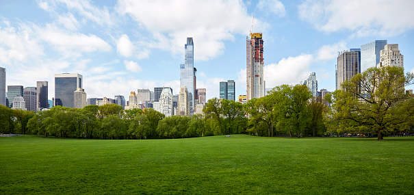 Public Park「USA, New York State, New York City, Manhattan skyline with Central park in foreground」:スマホ壁紙(0)