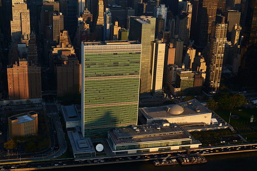 United Nations Building「USA, New York State, New York City, business district, United Nations Headquarter」:スマホ壁紙(11)
