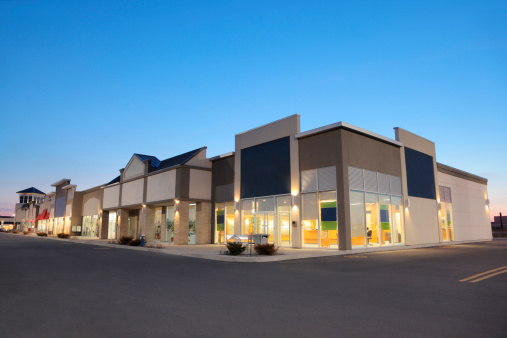 Building night view「Strip Mall Store Building Exteriors at Sunset」:スマホ壁紙(16)