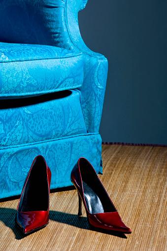 Armchair「Red shoes on floor near blue armchair」:スマホ壁紙(10)