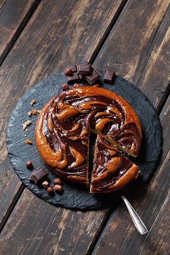 Cocoa「Sliced chocolate cake on slate plate」:スマホ壁紙(1)
