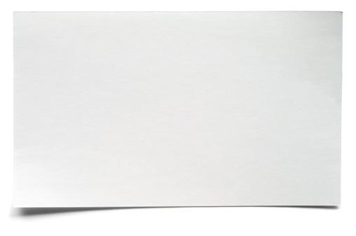 Correspondence「White isolated blank index card」:スマホ壁紙(12)
