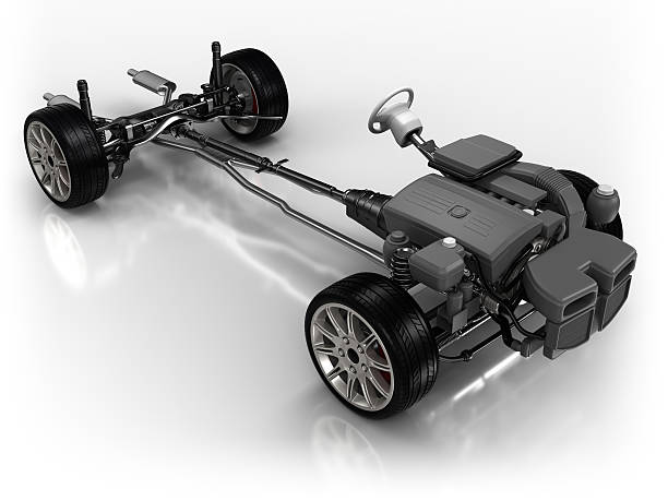 Car chassis - isolated on white with clipping path:スマホ壁紙(壁紙.com)