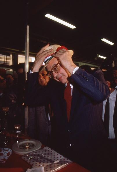 カーネーション「Prime Minister Bettino Craxi wears a hat with the carnation flower on it, symbol of the socialist party, Milan 1987」:写真・画像(15)[壁紙.com]