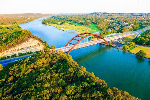 Colorado River「Pennybacker 360 bridge, Colorado River, Austin Texas, aerial panorama」:スマホ壁紙(19)