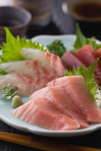 Sake「Three Assorted Sashimi, Medium Fatty Tuna, Lean Tuna and Sea Bream」:スマホ壁紙(5)