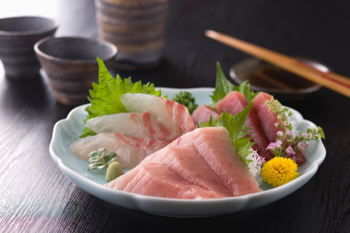 Sake「Three Assorted Sashimi, Medium Fatty Tuna, Lean Tuna and Sea Bream」:スマホ壁紙(3)