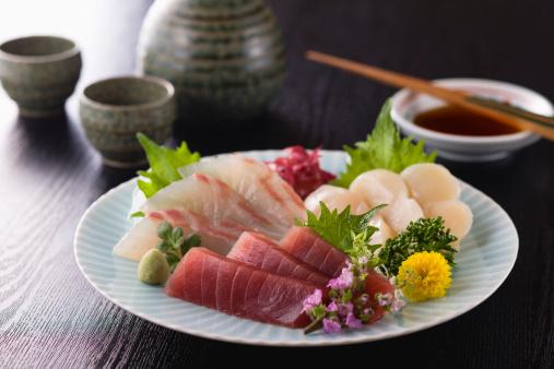 Sake「Three Assorted Sashimi, Lean Tuna, Sea Bream and Scallop」:スマホ壁紙(7)