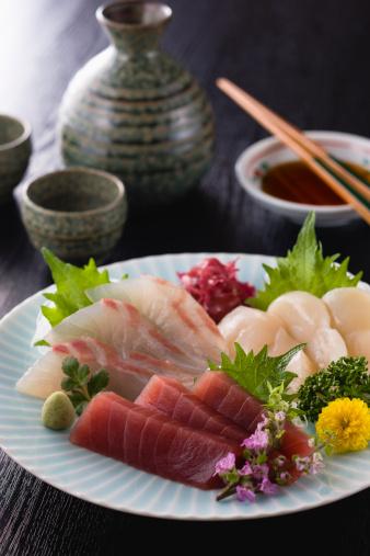 Sake「Three Assorted Sashimi, Lean Tuna, Sea Bream and Scallop」:スマホ壁紙(8)