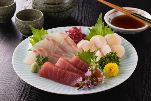 Sake「Three Assorted Sashimi, Lean Tuna, Sea Bream and Scallop」:スマホ壁紙(6)