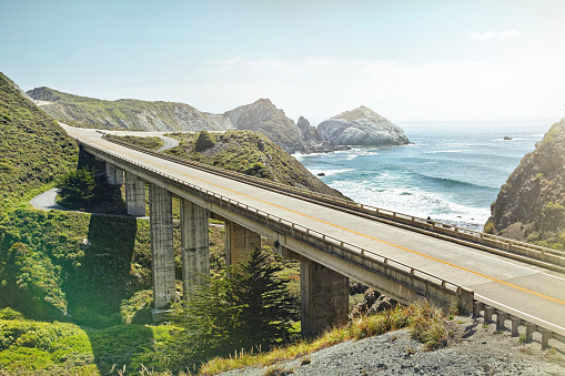 California State Route 1「empty bridge overlooking the sea」:スマホ壁紙(6)