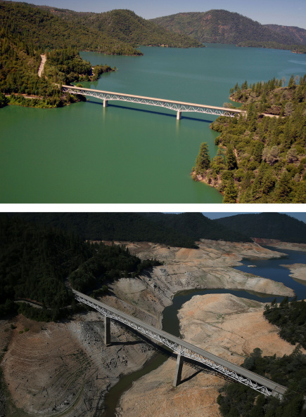 カリフォルニア州「Before And After: Statewide Drought Takes Toll On California's Lake Oroville Water Level」:写真・画像(14)[壁紙.com]
