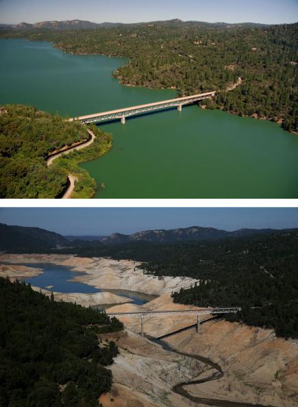 カリフォルニア州「Before And After: Statewide Drought Takes Toll On California's Lake Oroville Water Level」:写真・画像(14)[壁紙.com]