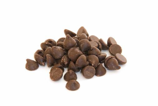 Milk Chocolate「Pile of chocolate chips on white」:スマホ壁紙(1)