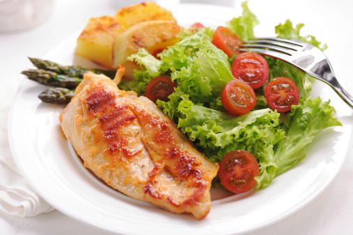 Marinated「Grilled chicken steak with potatoes,asparagus and salad」:スマホ壁紙(14)