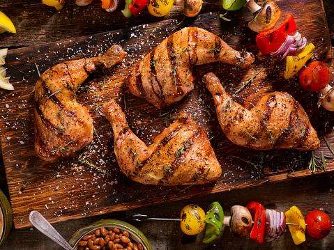 Chicken Meat「Grilled Chicken Legs With Vegetable Skewers」:スマホ壁紙(10)