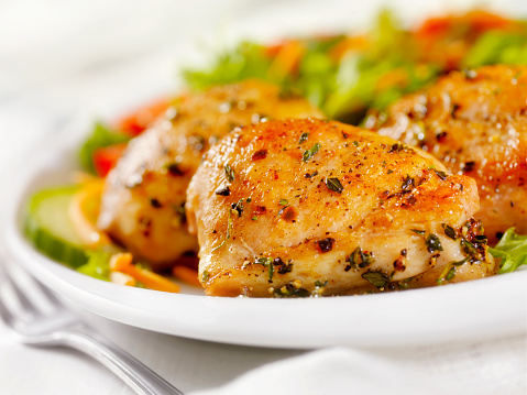Grilled Chicken Breast「Grilled Chicken Thighs with a side Salad」:スマホ壁紙(2)