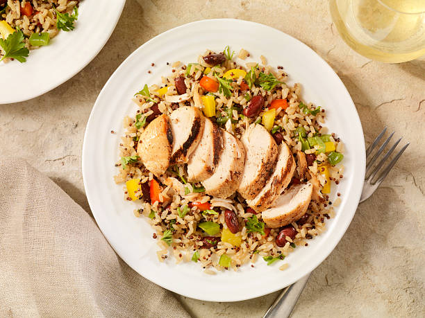 Grilled Chicken with Quinoa and Brown Rice Salad:スマホ壁紙(壁紙.com)