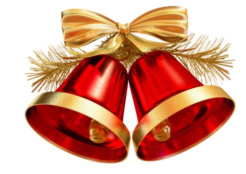 Bell「Red Christmas Bells on White Background」:スマホ壁紙(13)