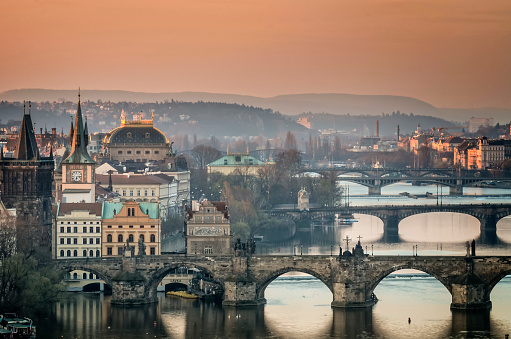 Prague「Czech Republic, Prague, cityscape with Charles Bridge at dawn」:スマホ壁紙(19)