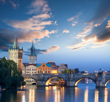 Prague「Czech republic prague charles bridge at dawn」:スマホ壁紙(4)