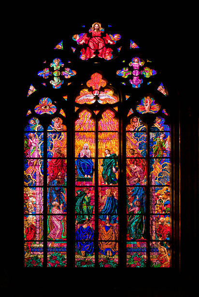 Czech Republic, Prague, St. Vitus Cathedral, Chapel of St. Ludmila, Stained glass window:スマホ壁紙(壁紙.com)