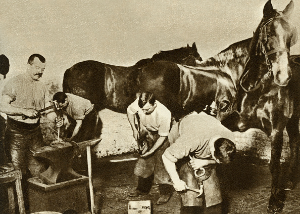 1900-1909「Blacksmiths shoeing work horses at the stables for the horse」:写真・画像(6)[壁紙.com]