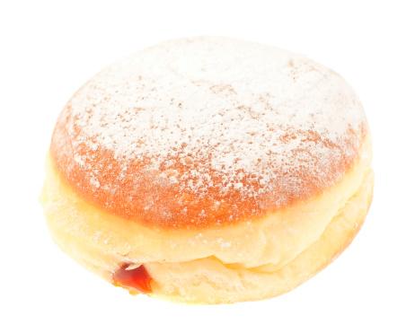 Bakery「krapfen doghnut with marmelade filling isolated on white」:スマホ壁紙(4)