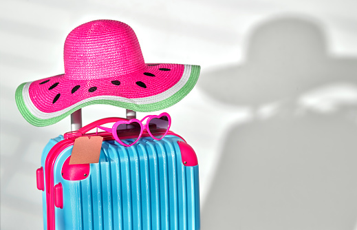 Sun Hat「Pink watermelon sunhat on wheeled luggage」:スマホ壁紙(8)