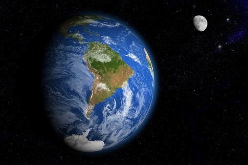 天の川「Earth and Moon」:スマホ壁紙(15)