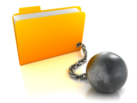 Briefcase「Folder attached to ball and chain, isolated with clipping path」:スマホ壁紙(2)