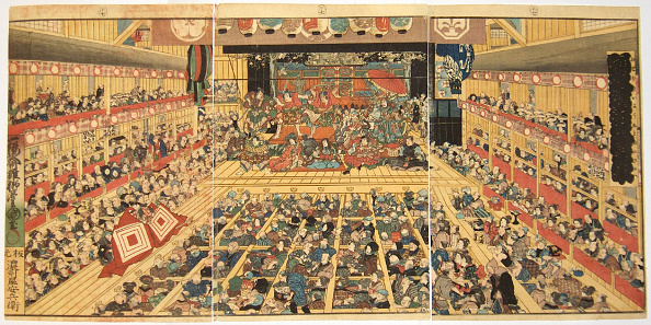 Edo Period「Odori-keiyo Edo-e no Sakae: Theatre interior with Shibaraku performance, 1858」:写真・画像(4)[壁紙.com]