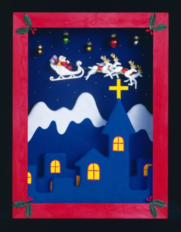 Dogsledding「Picture of Santa Claus riding sled pulled by deers in the sky, front view」:スマホ壁紙(8)
