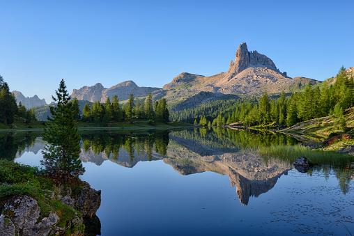 Larch Tree「taly, Dolomites, Belluno, mountain Becco di Mezzodi reflecting in Federa Lake」:スマホ壁紙(7)