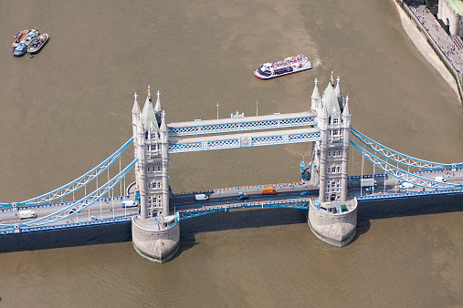 London Bridge - England「Elevated view of Tower Bridge, London, England, UK」:スマホ壁紙(12)