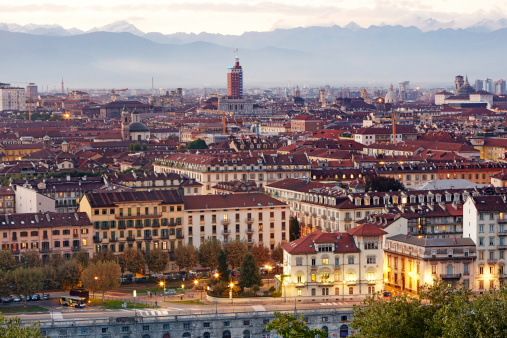 Torino Province「Elevated view of Turin at dusk」:スマホ壁紙(9)