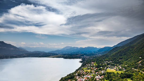 Elevated viewpoint over small French village of Bourdeau on the edge of Lake Bourget near Aix les Bains and Chambery city in Alps mountains:スマホ壁紙(壁紙.com)