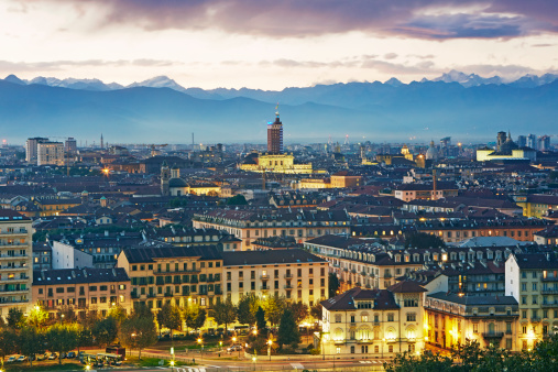 Piedmont - Italy「Elevated view of Turin and the Alps at dusk」:スマホ壁紙(14)