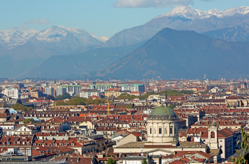 Piedmont - Italy「Elevated view of Turin and the Alps」:スマホ壁紙(13)