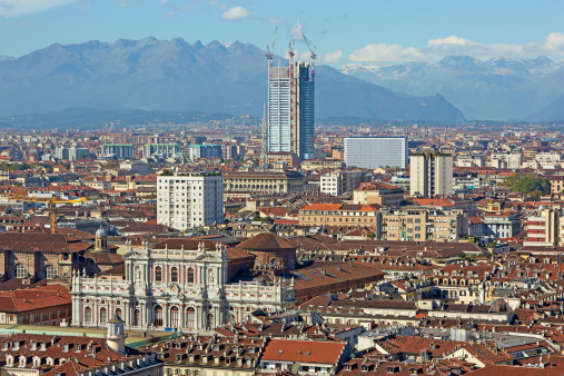 Piedmont - Italy「Elevated view of Turin with Alps in the background」:スマホ壁紙(12)