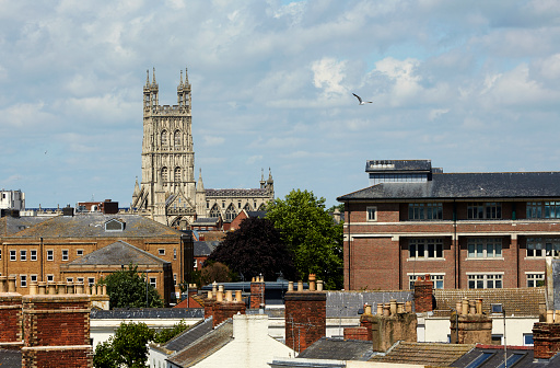 Birds「Elevated view of rooftops in Gloucester with Gloucester Cathedral」:スマホ壁紙(14)