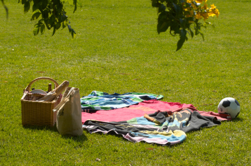 Picnic Blanket「Picnic, blanket and football on grass」:スマホ壁紙(0)