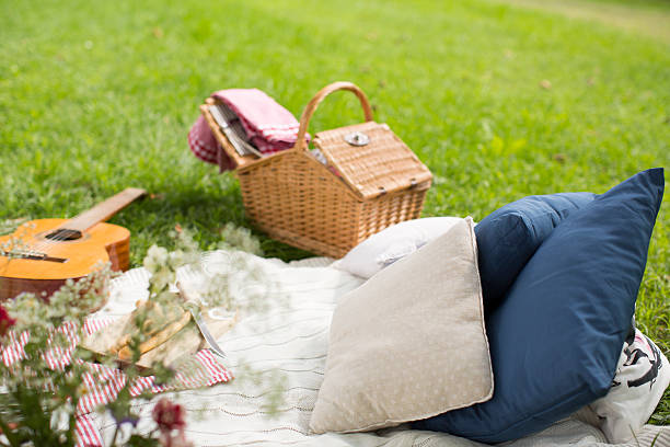 Picnic blanket with guitar and cushions on a meadow:スマホ壁紙(壁紙.com)