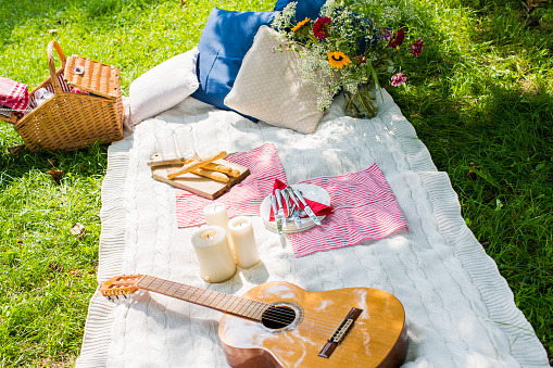 Picnic「Picnic blanket with guitar, candles and cushions on a meadow」:スマホ壁紙(11)