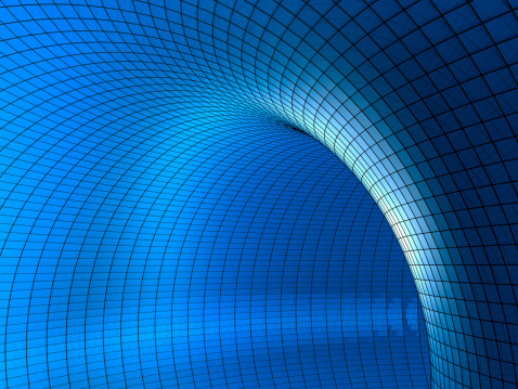 Pipe - Tube「3D chart-style tunnel in various blue tones」:スマホ壁紙(7)