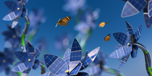 Cable「Lots of Solar Panel Flowers Generating Sustainable Energy Near Butterflies」:スマホ壁紙(9)