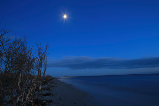 月「Denmark, Kattegat, Ebeltoft, Baltic Sea, View of beach near sea with moon at night」:スマホ壁紙(7)