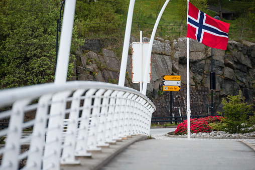 文化「Norwegian flag at a roundabout with flower, Vest-Agder, Norway」:スマホ壁紙(8)
