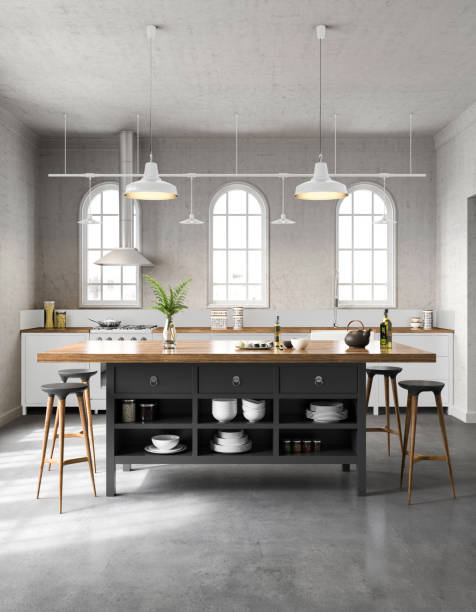 White industrial kitchen interior:スマホ壁紙(壁紙.com)