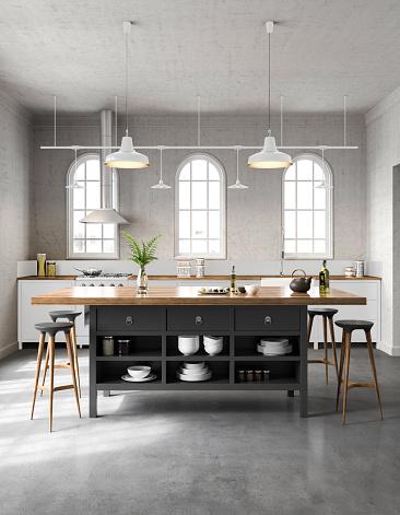 Kitchen Counter「White industrial kitchen interior」:スマホ壁紙(1)